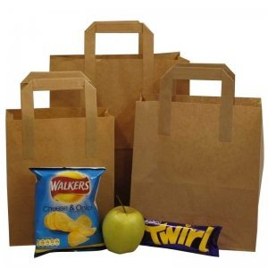 Kraft Paper Tape Handle SOS Carrier Bags