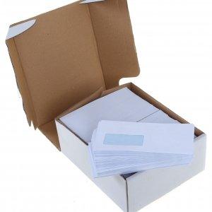 White envelopes in 4 sizes.